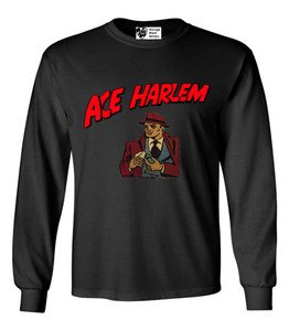 Vintage Black Heroes Men's Long Sleeved T-Shirt - Ace Harlem - 16 - Black