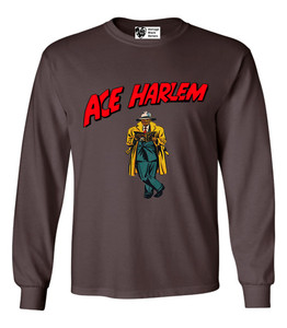 Vintage Black Heroes Men's Long Sleeved T-Shirt - Ace Harlem - 17 - Brown