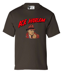 Vintage Black Heroes Boys T-Shirt - Ace Harlem - 1 - Brown
