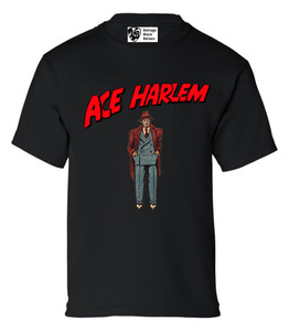 Vintage Black Heroes Boys T-Shirt - Ace Harlem - 6 - Black