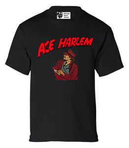 Vintage Black Heroes Boys T-Shirt - Ace Harlem - 8 - Black