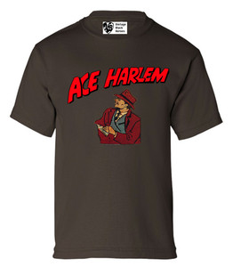 Vintage Black Heroes Boys T-Shirt - Ace Harlem - 8 - Brown