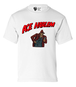 Vintage Black Heroes Boys T-Shirt - Ace Harlem - 10 - White