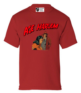 Vintage Black Heroes Boys T-Shirt - Ace Harlem - 15 - Red