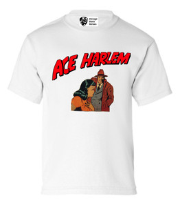 Vintage Black Heroes Boys T-Shirt - Ace Harlem - 15 - White