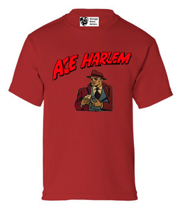 Vintage Black Heroes Boys T-Shirt - Ace Harlem - 16 - Red