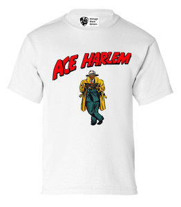 Vintage Black Heroes Boys T-Shirt - Ace Harlem - 17 - White