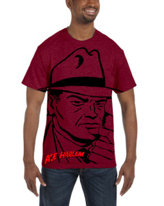 Vintage Black Heroes Men's T-Shirt - Ace Harlem - H2S1 - Red
