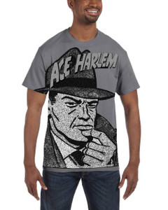 Vintage Black Heroes Men's T-Shirt - Ace Harlem - Hat1 - Dark Grey