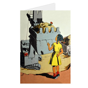 Afrotopia Greeting Cards - Vintage Girl In Yellow