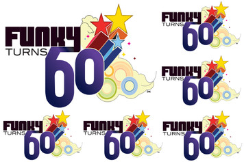 Funky Turns 60 Sticker Sheet