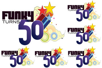Funky Turns 50 Sticker Sheet