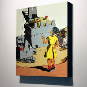Afrotopia 32x24 Canvas - Vintage Girl In Yellow