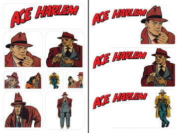 Vintage Black Heroes Sticker Sheet Set - Ace Harlem - 3