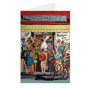 Afrotopia Greeting Cards - Vintage Flower Shop - Package Of 10