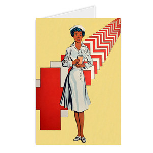 Afrotopia Greeting Cards - Vintage Nurse - Package Of 10