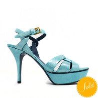 YSL Turquoise Tribute 75 Heels
