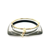 Alexis Bittar Clear and Gold Lucite Bangle