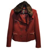Donna Karan Fur-Trimmed Jacket