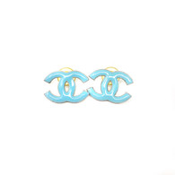 Chanel Blue CC Earrings