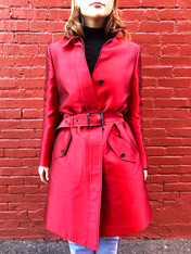 Burberry Red Silk Trench Coat