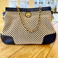 Tory Burch Navy & Cream Knit Handbag