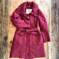 Burberry Coat Burgundy Quilted