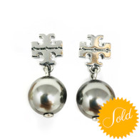 Tory Burch Silver Pearl Earrings
