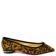Louboutin Studded Leopard Flats