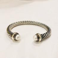 David Yurman Pearl-Tipped Cable Bracelet