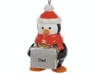 Cute Penguin Christmas Tree Decoration Ornament Bauble *ANYNAME*