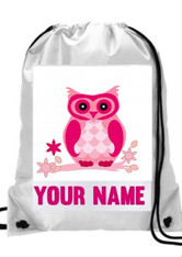 Personalised Cute Owl Gym, PE, Sports, Swim, School, Dance Bag Girls with Name