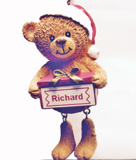 Label-Printed Personalised Christmas Tree Decoration- Santa Bear Any Name