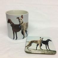 Standing Greyhounds Mug & Coaster Set