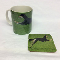 Leaping Saluki Mug & Coaster Set