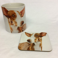 Ibizan Hound Mug and Coaster Set