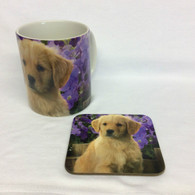 Golden Retriever Purple Mug and Coaster Set
