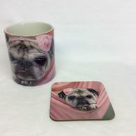 Pink Pug Puppy Mug and Coaster Set