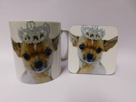 Chihuahua Princess Wearing a Tiara Mug and Coaster Set