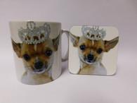 Chihuahua Princess Wearing a Tiara Mug and Coaster Set