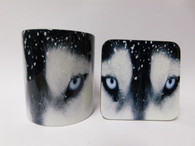 Husky Face in Snow Dog Mug and Coaster Set