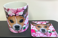 Jack Russell in Marshmellows with Rose Mug and Coaster Love Say it with Flowers