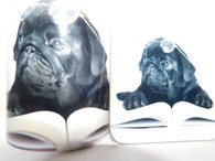 Black Pug Reading a Book Mug and Coaster Set