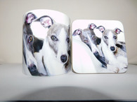 Whippets Laying Mug and Coaster Set