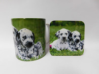 Dalmatian Puppies Mug and Coaster Set