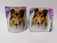 Rough Collie Dog Mug and Coaster Set