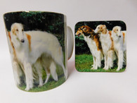 Borzoi Dogs Mug and Coaster Set