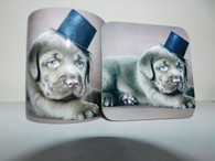 Chocolate Labrador Puppy wearing a Top Hat Mug and Coaster Set