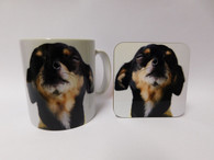 Black Chihuahua Face Mug and Coaster Set
