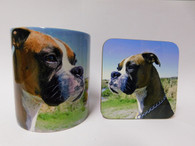 Boxer Dog Mug and Coaster Set